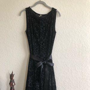 Black Slip dress with damask overlay